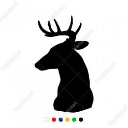 Sola Doğru Bakan Boynuzlu Geyik Başı Sticker