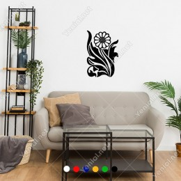 Soyutlaştırılmış Desen Halinde Yapraklı Papatya Sticker