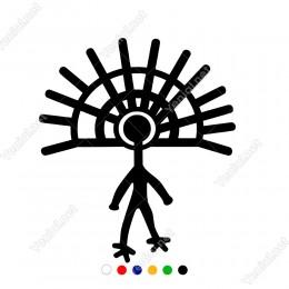 Stilize Edilmiş Göz ve Güneş Şeklinde İnsan Sticker