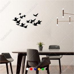 Sürü Halinde Göç Eden Leylekler Kuşlar 46x60 cm Duvar Sticker
