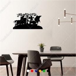 Tepede Ejderha İle Savaşan Atlı Savaşçı 60x30 cm Duvar Sticker