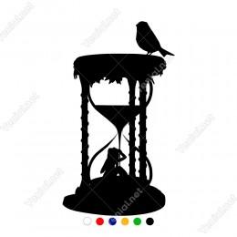 Tepesinde Kuş Olan Doğal Kum Saati Sticker