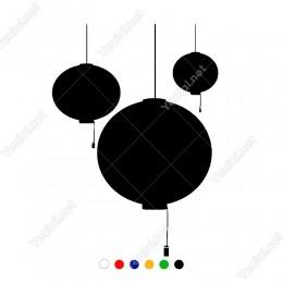 Üç Adet Çin Balonu Süslemesi Vitrin Sticker