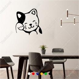 Uykusu Gelen Sevimli Kedi Yavrusu Pisi 60x60 cm Duvar Sticker