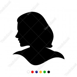 Wc Tabelası İçin Bayan Yan Görünüm Yüz Silueti Sticker