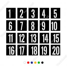 1'Den 20'Ye Kadar Kare İçinde Şablon Rakam Sayı Sticker-1