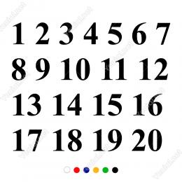 1'Den 20'Ye Kadar Papuçlu Font Rakam Sayı Sticker Yapıştırma