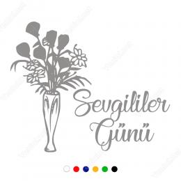 14 Şubat Sevgililer Günü Çiçek Süslemeli Sticker Yapıştırma