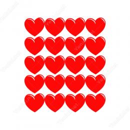 14 Şubat Sevgililer Günü Kalp 20 Adet (5cm) Sticker Yapıştırma