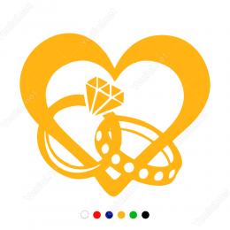 14 Şubat Sevgililer Günü Tektaş Ve Alyans 110x110cm Sticker