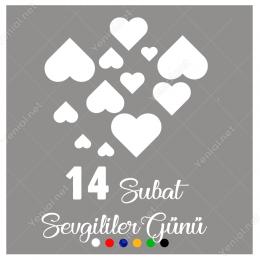 14 Şubat Sevgililer Günü Üst Üste Kalpler 110x110cm Sticker