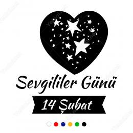 14 Şubat Sevgililer Günü  Yıldız Kalp100x100cm Sticker Yapıştırma