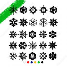 25 Adet Farklı Kar Tanesi Çıkartma