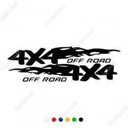 4x4 Off Road Ateş Efektli Yazı Sticker Yapıştırma