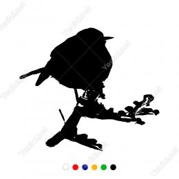 Ağaç Dalının Üzerinde Duran Yavru Kuş Duvar Stickerı