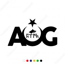 AOG Bozkurtlu Göktürkçe Yazılı Sticker