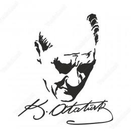 Gazi Mustafa Kemal Atatürk Yüzü Araç Stickeri