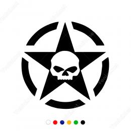 Army Askeri Yıldız ve Kuru Kafa Efektsiz Sticker 2 Adet Set Araba Sticker, Oto Sticker, Araba Çıkartmaları, Jeep için Aksesuarlar, 4X4 Sticker, Laptop ve Duvar için