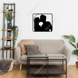 Ay Işığında Öpüşen Sevgililer Duvar Stickerı