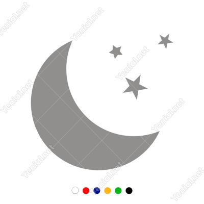 Ay ve Yıldızlar Duvar Sticker -  60x57cm