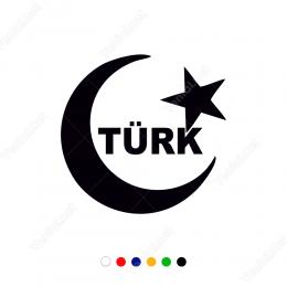 Ay Yıldız Ve Türk Yazısı Sticker Etiket Çıkartma