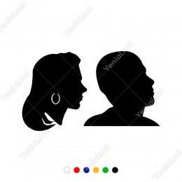 Bay Bayan Wc Küpeli Kadın ve Erkek Sticker