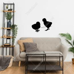Bekleyen İki Tane Tavuk Civcivi Cam Stickerı