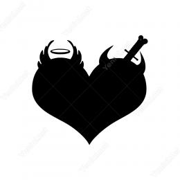 Bir Tarafı Şeytan Diğer Tarafı Melek Kalp Duvar Stickerı