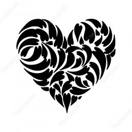 Birçok Kalp Deseninden Oluşmuş Kalp Duvar Stickerı