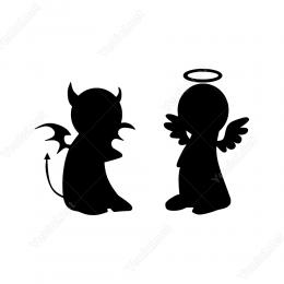 Birlikte Kötülük Pilanı Yapan Sevimli Şeytan Duvar Stickerı