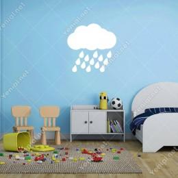 Bulut ve Yağmur Taneleri Duvar Sticker -  60x59cm