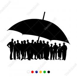 Büyük Şemsiyenin Altında Bekleyenler  Duvar Stickerı
