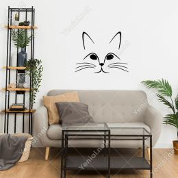 Çizgi Halinde Sadece Dış Kontürleri Olan Kedi Stickerı