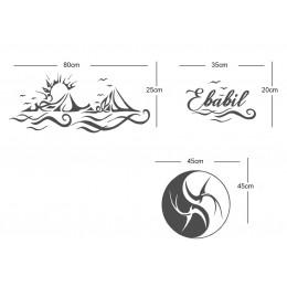 Dalgalı Sticker ve Ying Yang Sticker