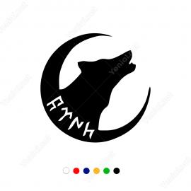 Göktürk Alfabesi Türk Yazısı Ay Yıldız Ve Kurt Stickeri Etiket Çıkartma