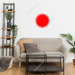 Güneş Sembolü Simgesi Sivri Detaylı Duvar Stickerı