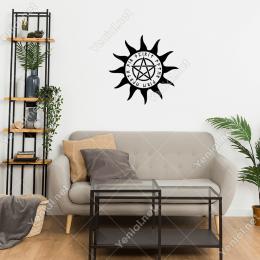 Güneş ve Pentagram Yıldız Simgesi  Duvar Stickerı