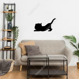 Halıyı Tırmalayan Sevimli Kedi Duvar Stickerı