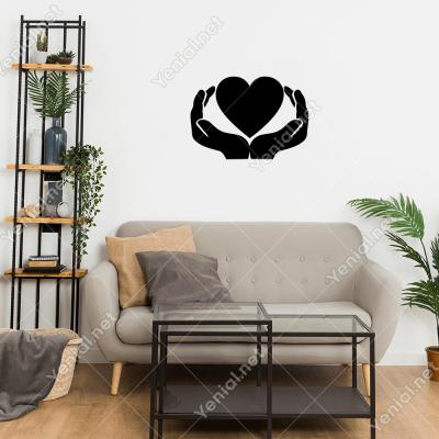 İki El İçinde Kalp Şekli Duvar Stickerı