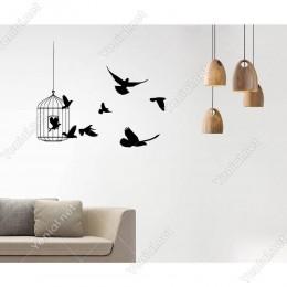 Kafesten Uçuşan Kuşlar Duvar Sticker -  80x60cm