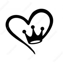 Kalp Ve Kral Tacı Sticker Yapıştırma