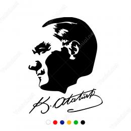 Kemal Atatürk Yan Görünüm ve İmzası Yapıştırma