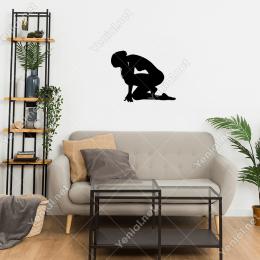 Koşmaya Hazırlanan Önüne Doğru Eğilen Duvar Sticker