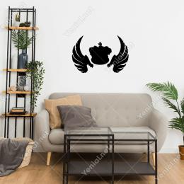 Kral Tacı Ve Çift Kanat Duvar Etiket Sticker