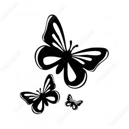 Küçükten Büyüğe Kelebek Stickeri Yapıştırması