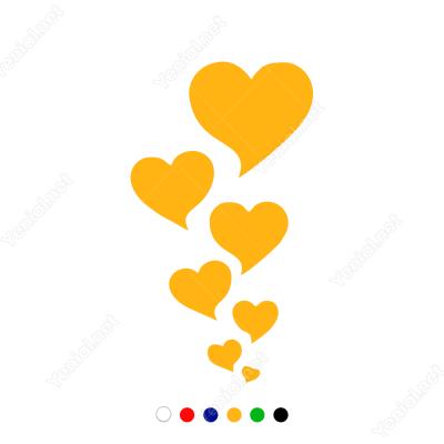 Küçükten Büyüğe Sıralanmış Kalp Sticker Yapıştırma