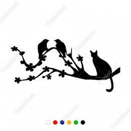 Kuş Avlamaya Çalışan Bekleyen Kedi Sticker
