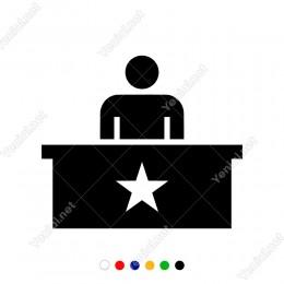 Masasında Yıldız Simgesi Olan Adam Sticker