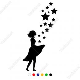Önünde Küçükten Büyüğe Yıldızlar Uçuşan Kız -  40x80cm