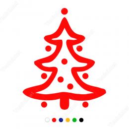 Oval Süslemeli Yılbaşı Ağacı Sticker Çıkartma